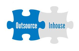 Puzzle pieces Outsource/Inhouse